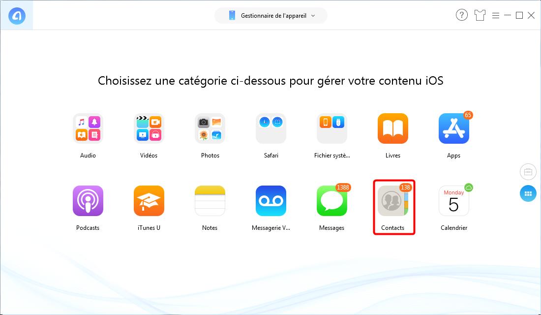 Comment sauvegarder les contacts iPhone sur Mac/PC sans iTunes – étape 1