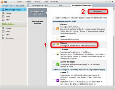 Sauvegarder SMS Samsung - étape 2