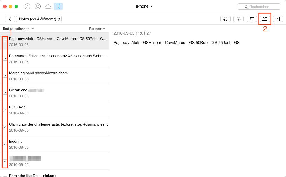 Sauvegarder les notes iPhone sur Mac – étape 4