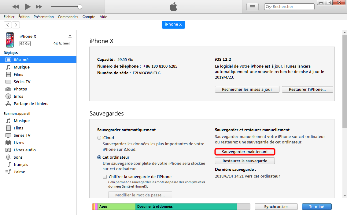 Sauvegarder ses SMS de l'iPhone sur Mac via iTunes