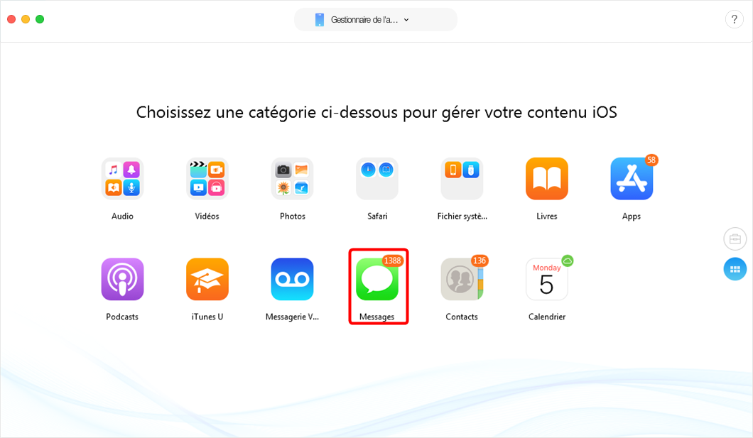 Transférer les SMS Phone vers un Mac avec AnyTrans pour iOS - étape 2