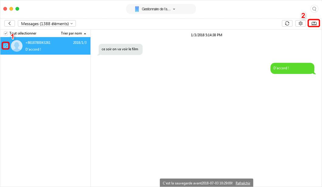 Comment suavegarder des SMS de l'iPhone sur Mac - étape 3