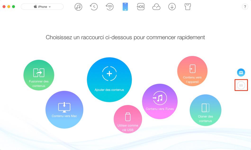 Sauvegarder les messages de l'iPhone sur Mac via AnyTrans pour iOS – étape 1