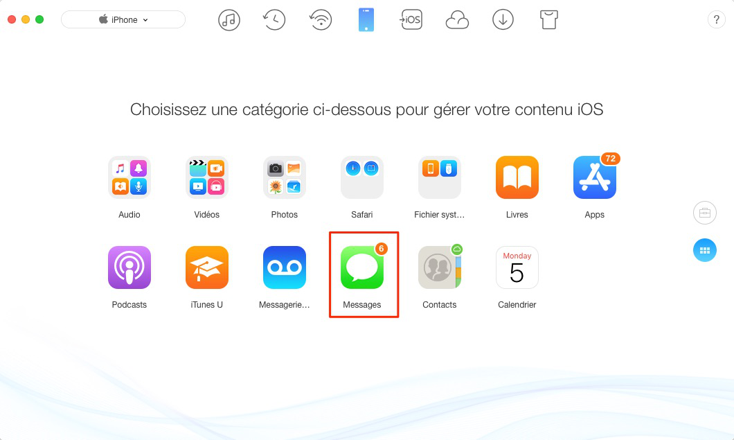 Transférer les SMS Phone vers un Mac avec AnyTrans - étape 2