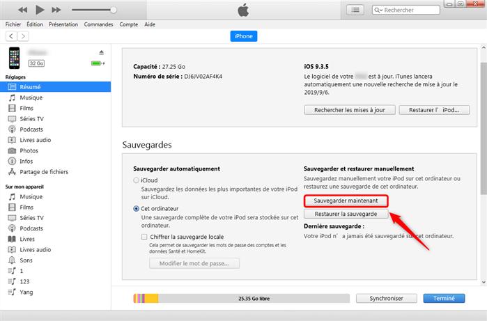 Sauvegarder SMS iTunes