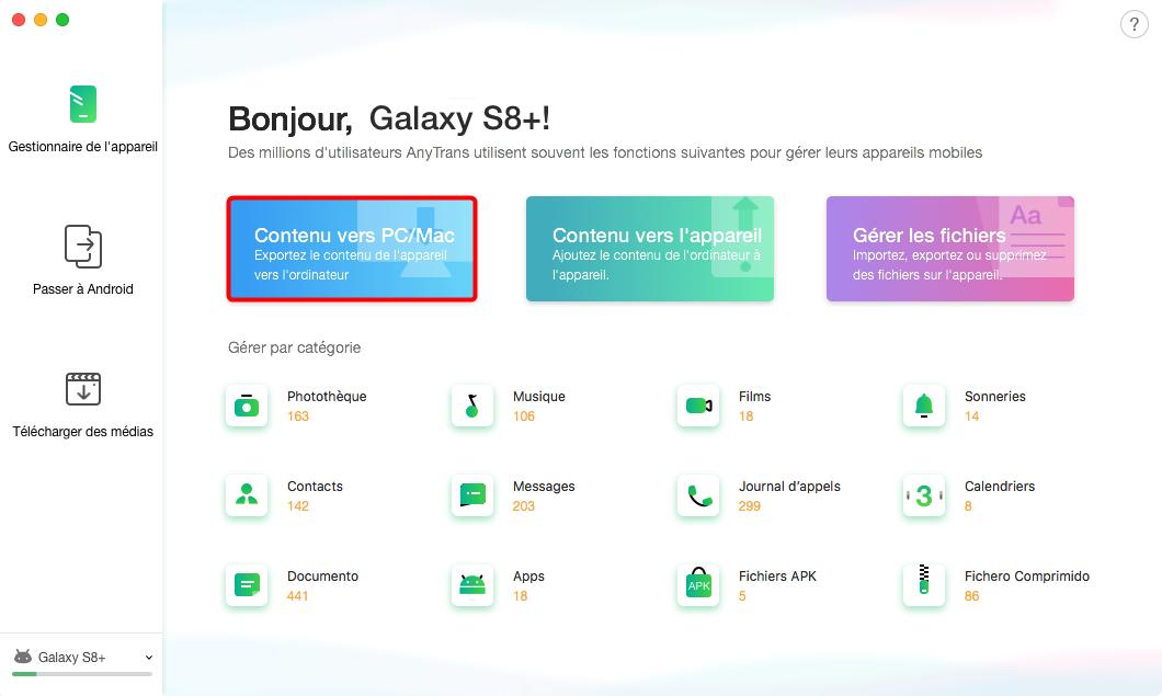 Sauvegarde Samsung sur Mac avec Anytrans pour Android - étape 1