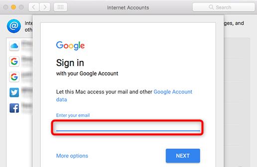 Connexion avec le compte Google