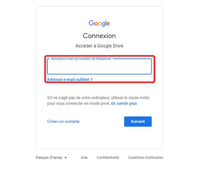 Connexion à Google Drive