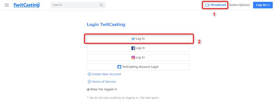 Connexion à TwitCasting