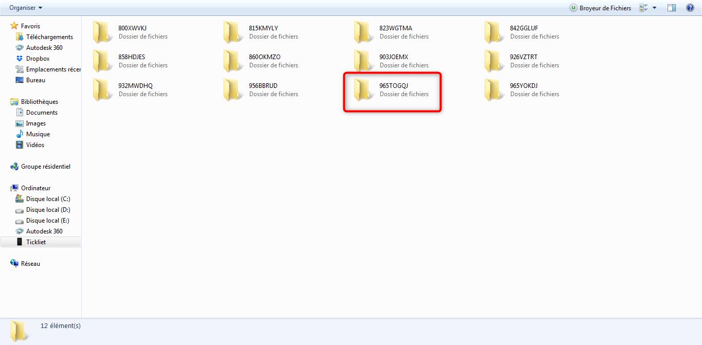 Sélection du dossier qui contient les photos recherchées
