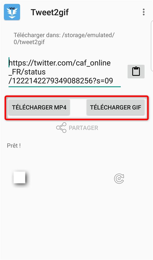 Enregistrer la vidéo Twitter sur le téléphone Android