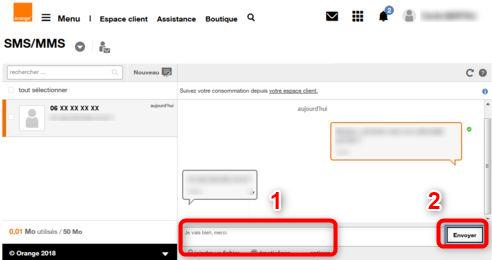 Envoi d'un SMS via le portail Orange