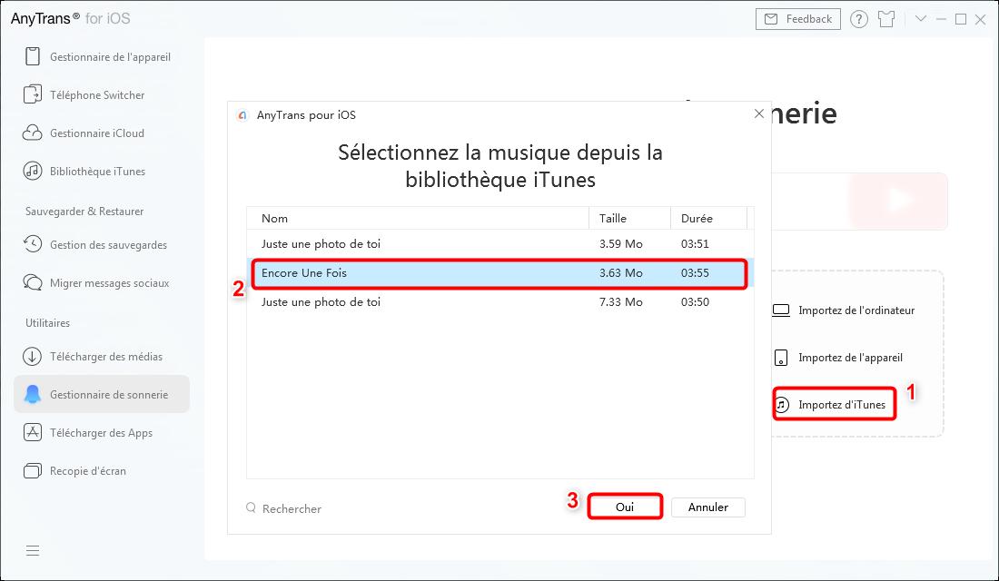 Sélectionner la musique depuis bibliothèque iTunes