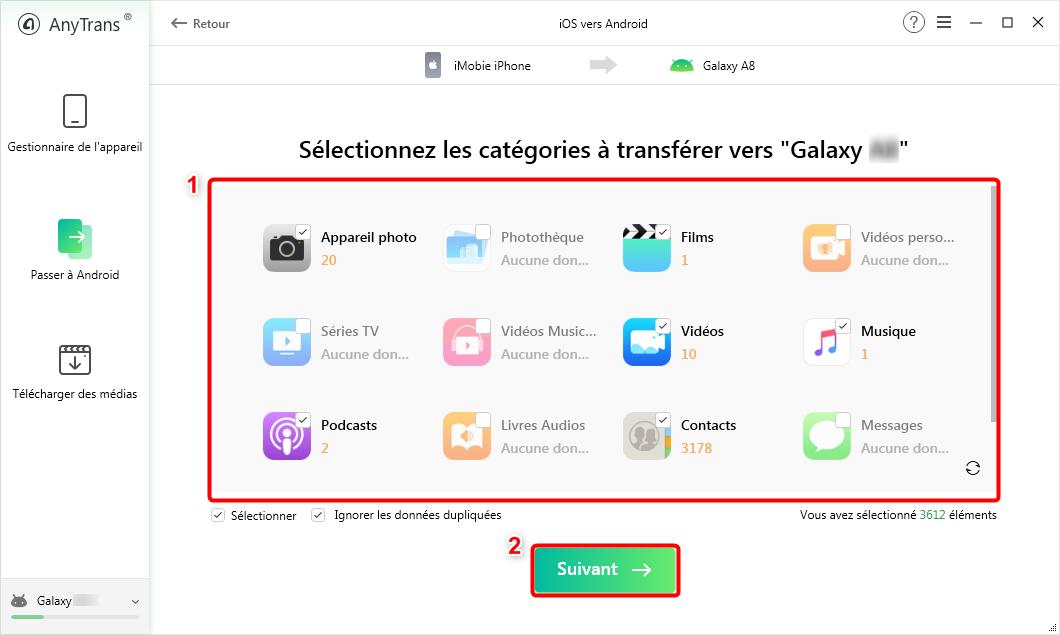 Sélectionnez les données iPhone vers Android