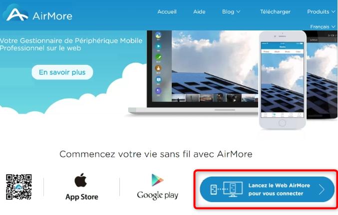 Consultation du site web d'AirMore