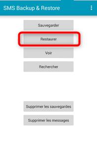 Page d'accueil de SMS Backup & Restore