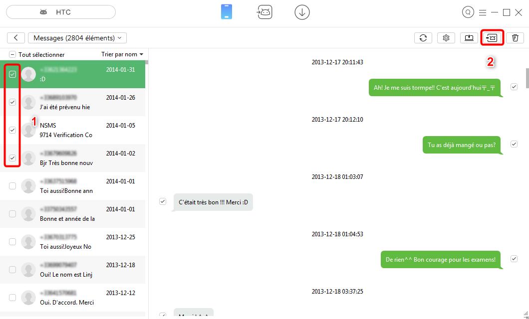 Envoyer les SMS depuis HTC vers Samsung avec facilité- étape 3