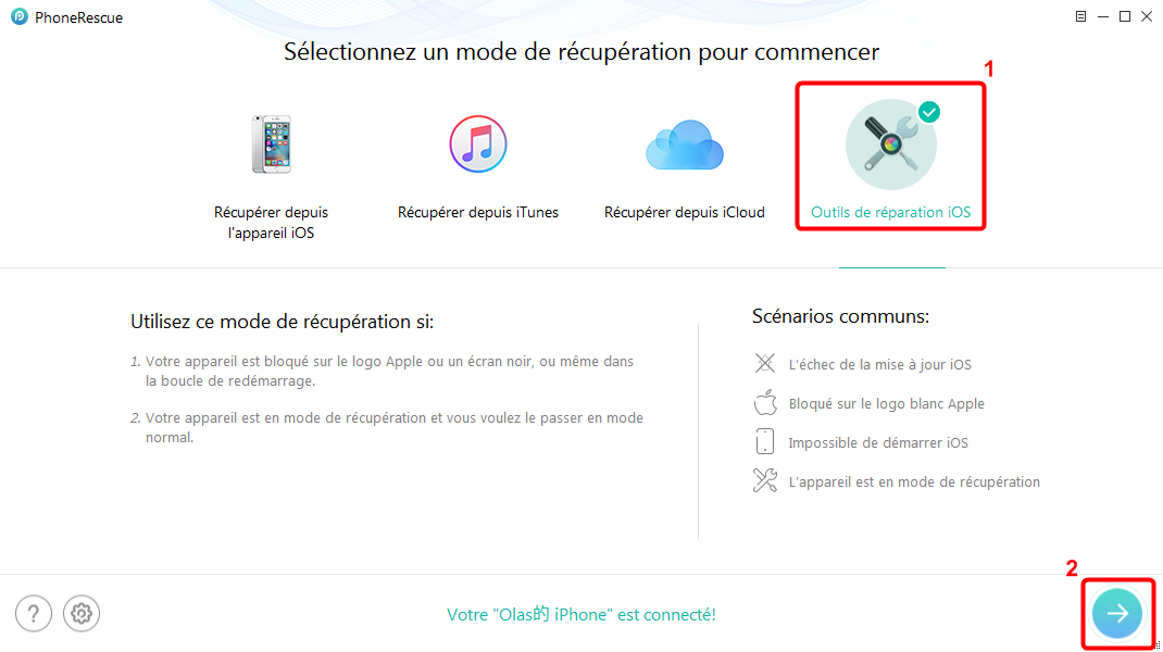 Comment réparer l'écran bleu sur iPhone – étape 1