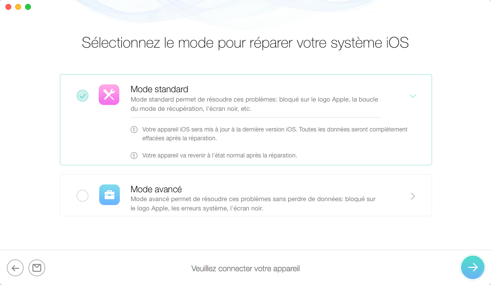Sortir du mode recovery iPhone - étape 2