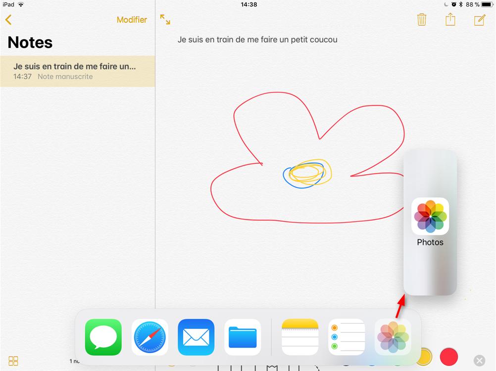 Commnent utiliser SlideOver pour ouvrir une seconde App