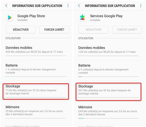 Configuration des données de stockage de l'application