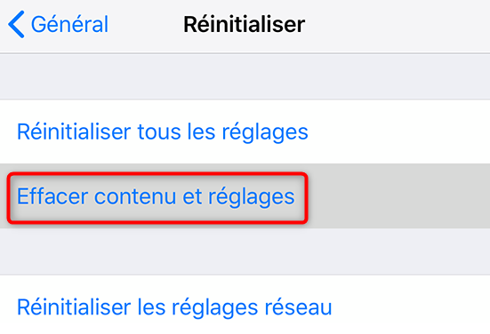 Suppression du contenu de l'iPhone