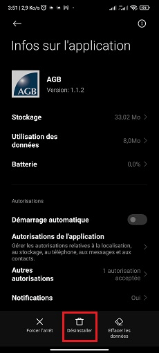 Supprimer application Android sans root