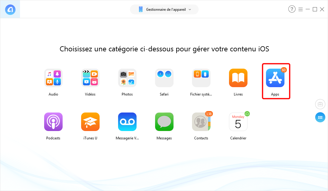 Supprimer des applications sur iPhone XS (Max)/XR de AnyTranspour iOS - Étape 2