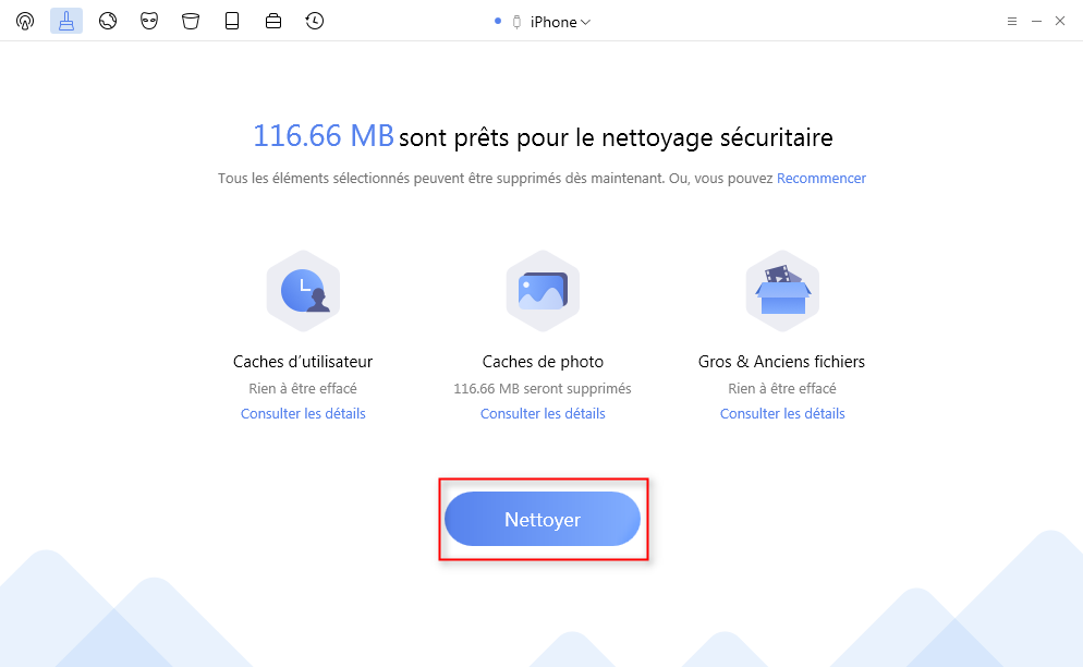 Supprimer Caches de photo de l'iPhone avec PhoneClean – étape 4
