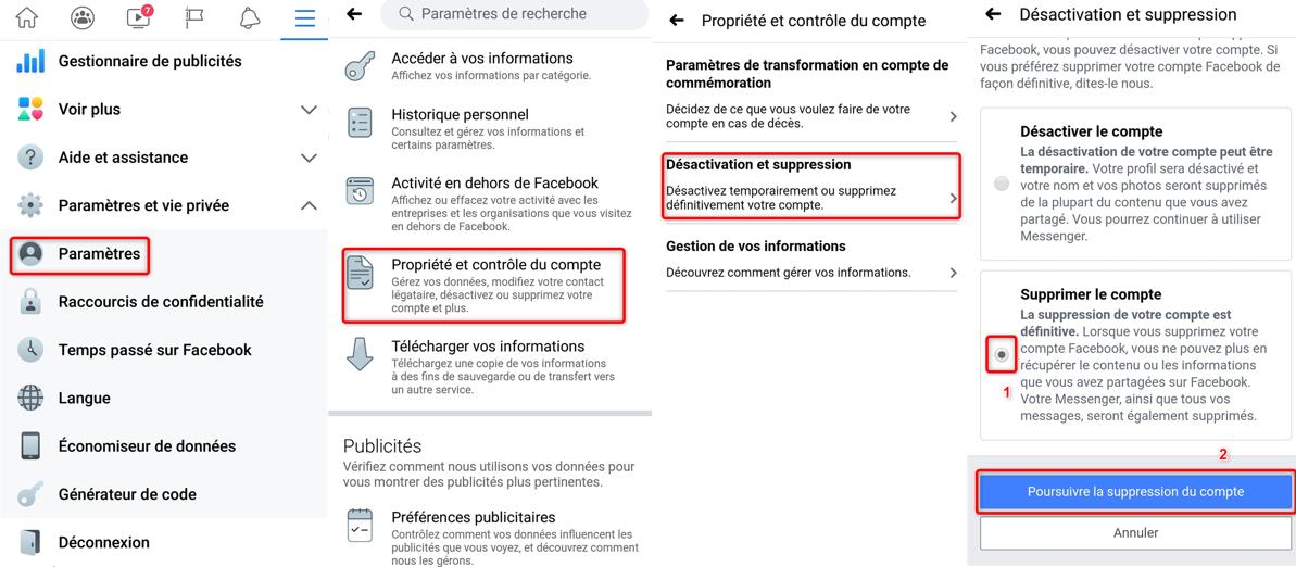 Supprimer un compte Facebook depuis un smartphone