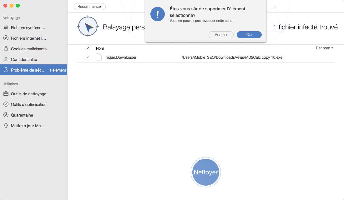Supprimer leslogiciels malveillantes sur Mac avec MacClean - étape 2