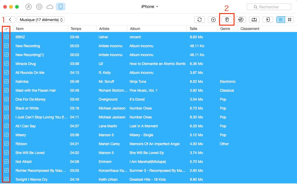 Supprimer sélectivement les musiques sur iPhone SE - étape 3