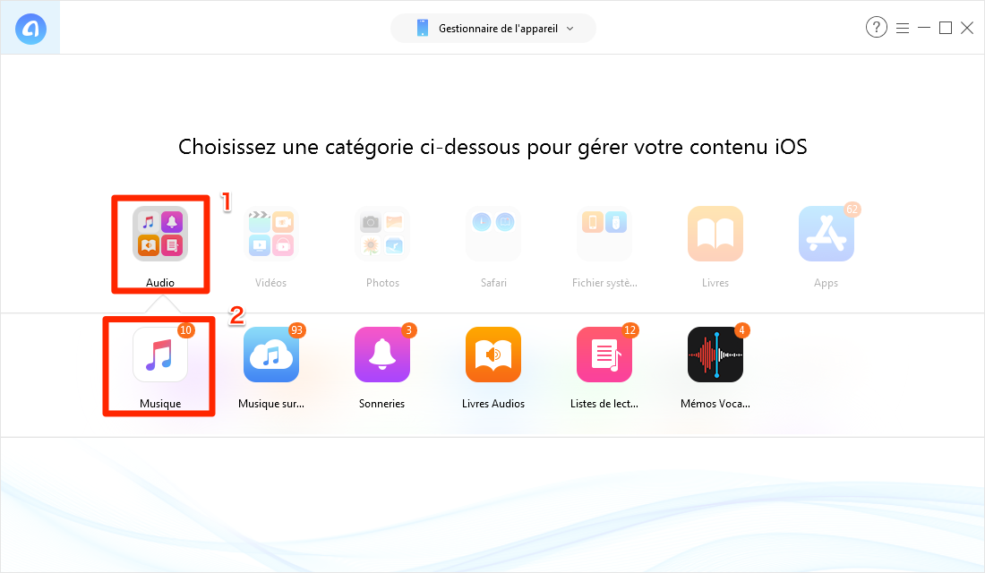 Supprimer les musiques sur iPhone sans iTunes – étape 2