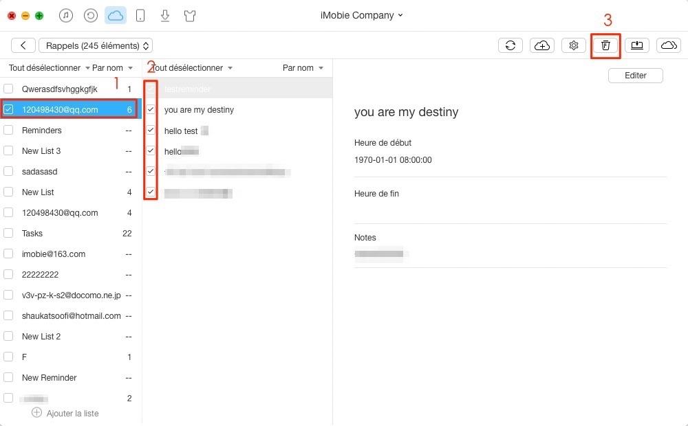 Envoyer les rappels d'iCloud vers un autre – étape 3
