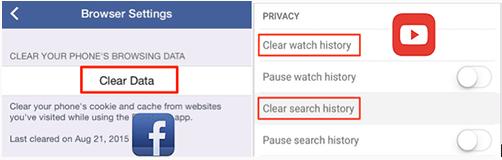 'Documents et données' dans Facebook et YouTube sur iPhone
