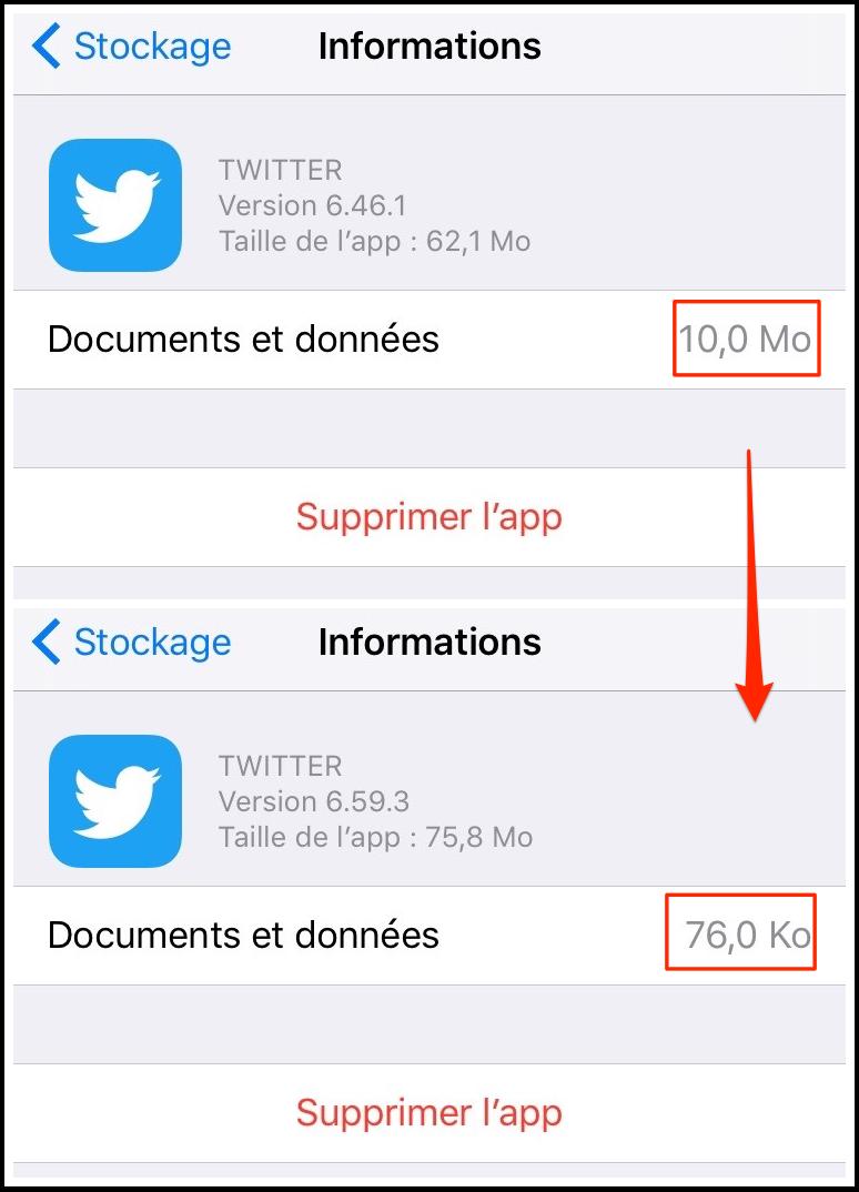 'Documents et données' dans l'app Twitter