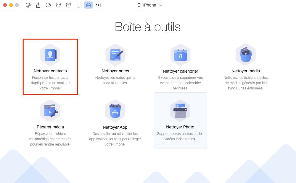 Effacer les contacts en double sur iPhone/iPad – étape 2