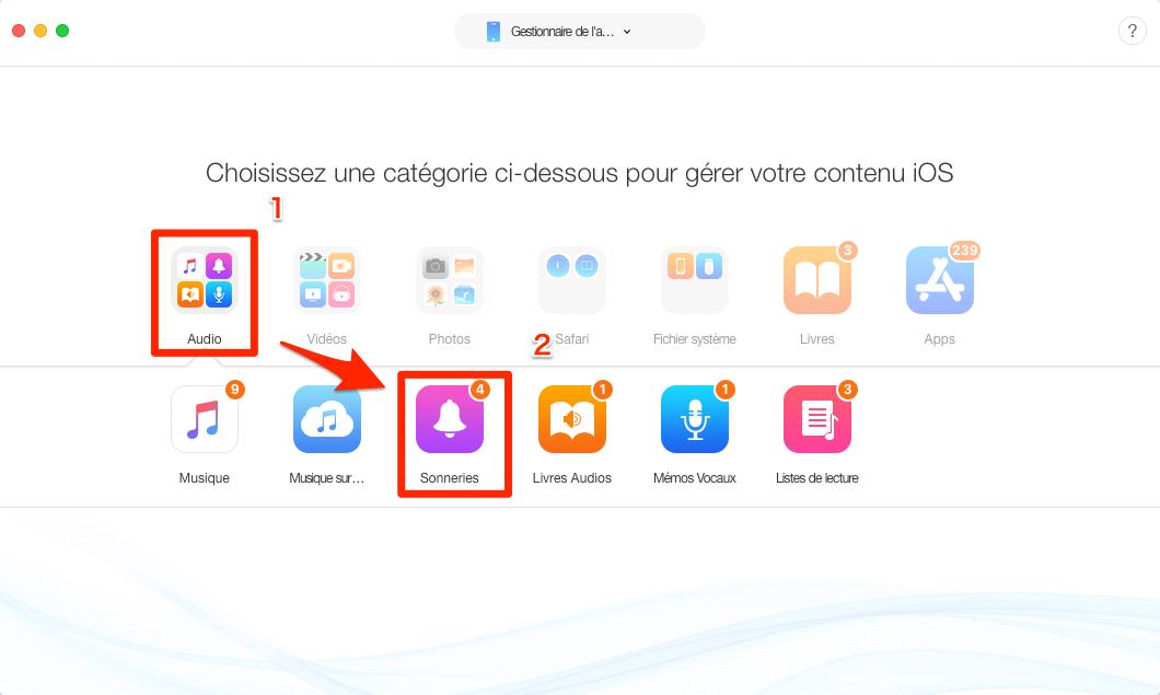 Enlever une sonnerie sur iPhone sans iTunes – étape 2