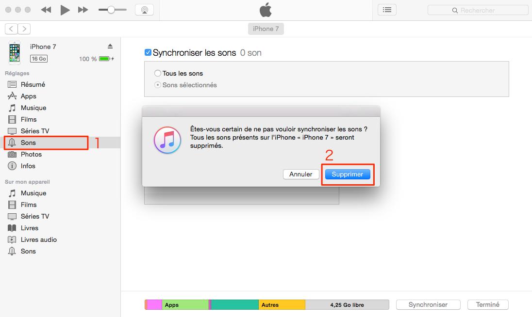 Effacer les sonneries iPhone avec iTunes