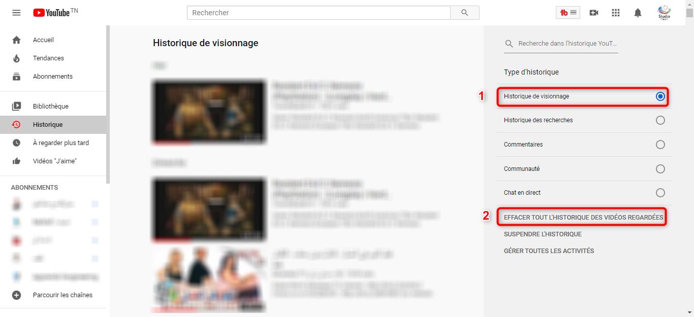 Supprimer l'historique de Youtube - étape 2