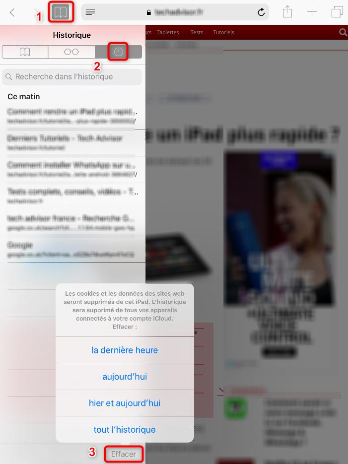 Suppression de l'historique iPad