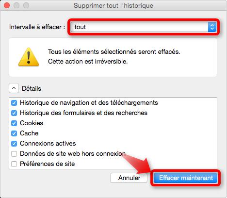 Supprimer l'historique de Firefox sur Mac