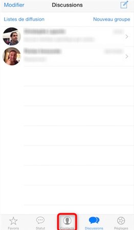 Accéder aux contacts WhatsApp - étape 1
