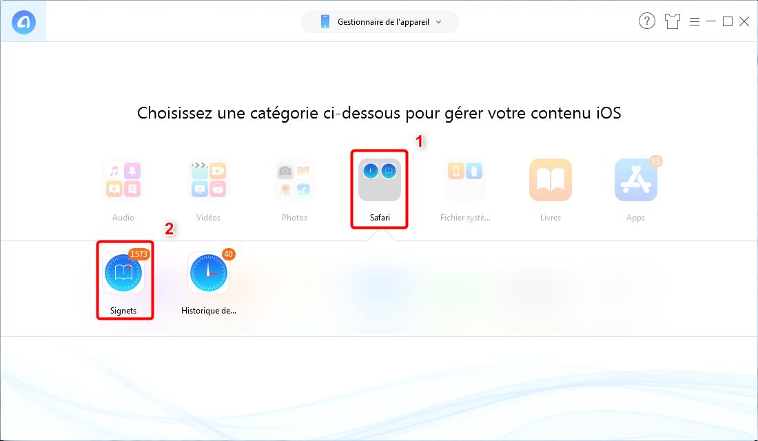 Comment supprimer des signets sur iPhone XS (Max)/XR - Étape 2