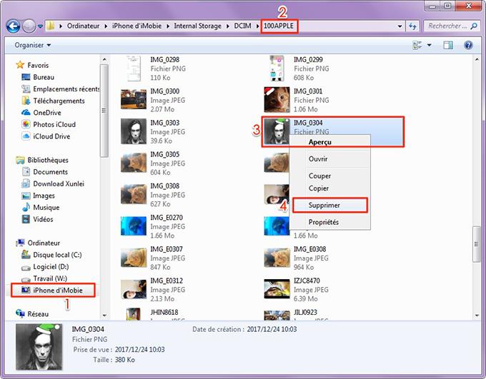 Supprimer les photos iPhone depuis PC
