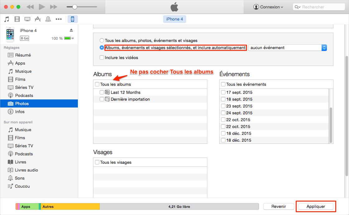Supprimer les photos synchronisées sur iPhone via iTunes
