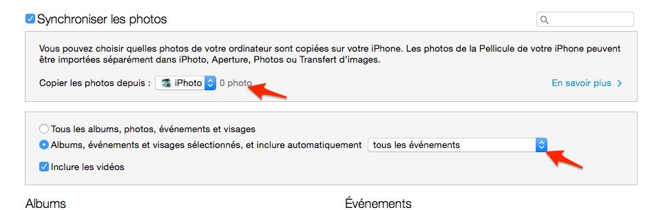 Supprimer des photos synchronisées par Synchroniser Aucune photo