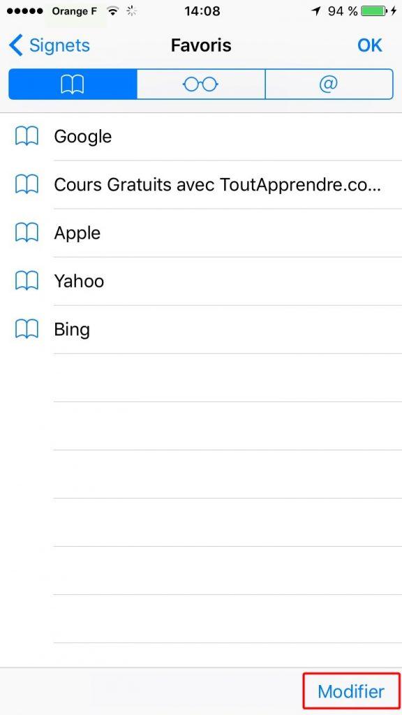 Supprimer les signets de l'iPhone 7 dans Safari – étape 1