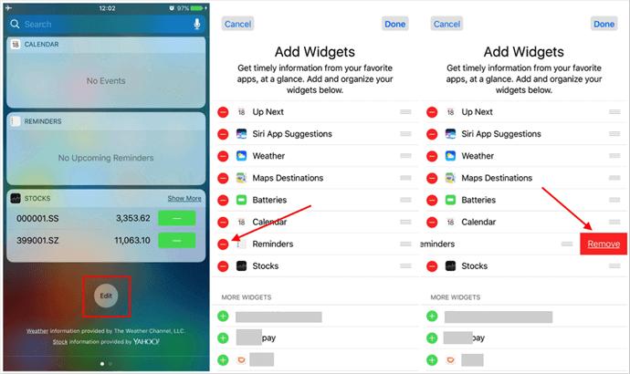 Supprimer les rappels des widgets de notification