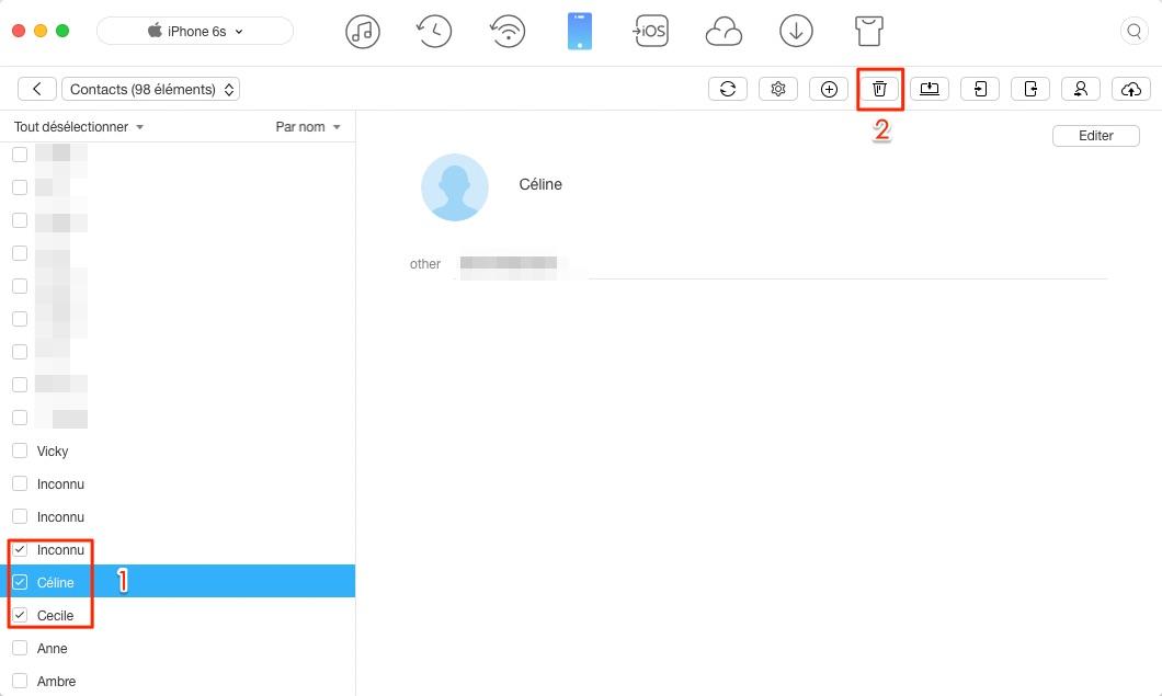 Supprimer tous les contacts sur iPhone 6 via AnyTrans - étape 3